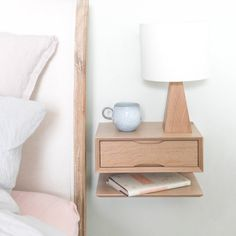 I've just found Oak Floating Bedside Table With Drawer And Shelf. Minimalist style floating bedside table in solid oak with spacious drawer and shelf. Small Nightstand, Bedside Drawers, Bedside Table Lamps, Floating Nightstand, Floating Shelves, Small Bedside Tables, Wall Mounted Bedside Table, Nightstand Ideas, Bedside Storage