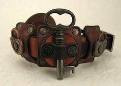 Nordic Steampunk Skeleton Key Bracelet Industrial Viking Boho Recycled Jewelry Art Deco Machine Age