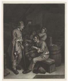 Wallerant Vaillant | Herberginterieur, Wallerant Vaillant, 1658 - 1677 | Herberginterieur met twee mannen die onder het genot van een pijp en een flesje drank een gesprek voeren. Op de achtergrond een man en een vrouw.
