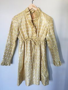 60s 70s Gold Brocade Shimmer Cocktail Dress Tunic by KindredDesignVintage on Etsy