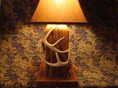 Barnwood and Deer Antler Lamp AB would love this awful looking thing. Deer Antler Lamps, Antler Art, Deer Antlers, Woodworking Furniture Plans, Family Room Decorating, Furniture For You, Log Decor, Deer Decor, Barn Wood