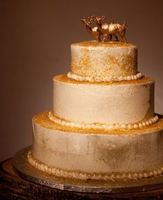 Whole Foods Gold Glitter Wedding Cake with Deer Topper