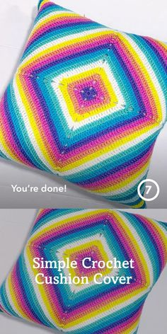 Simple cushion you can make from any square and any yarn in your stash Crochet Cushion Cover, Crochet Cushions, Easy Crochet, Crochet Projects, Simple, How To Make, Crochet Pillow, Single Crochet