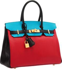 Hermès Special Order Horseshoe 30cm Rouge Casaque, Blue Aztec & Black Chevre Leather Birkin Bag with Gold Hardware.