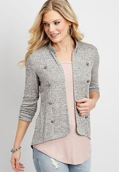 gray military inspired cardigan | maurices