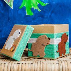 Diese süße Pappschachtel ist in Windeseile gebastelt. Holen Sie sich diese süßen Welpen nach Hause. Box, Desserts, Puppys, Decorating, Handarbeit, Patterns, Crafting, Kids, Tailgate Desserts