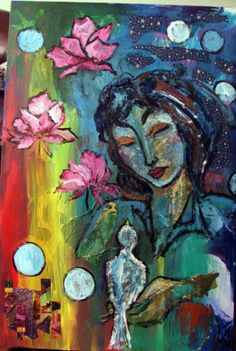 24 x 36 acrylic mixed media on canvas by Tammy Vitale.  Untitled.