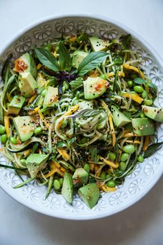 COLD VEG AND MANGO NOODLES WITH HOT HONEY SESAME DRESSING - THE FIRST MESS | edamame cucumber courgette vegan if you omit the honey