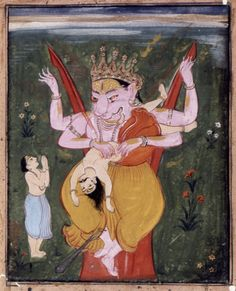 Vishnu in his avatar Narasimha tearing Hiranyakasipu to pieces. A devotee in a blue dhoti. 17th C. Deccan, India.