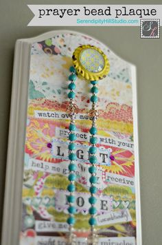 Prayer bead rosary plaque collage art, first communion, baptism, christening, kids art, prayer, intention decor