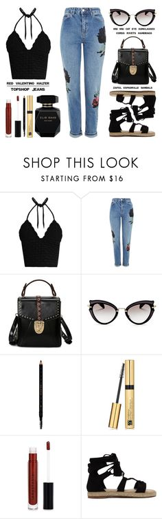 """Topshop Embroidered Mom Jeans"" by latoyacl ❤ liked on Polyvore featuring RED Valentino, Topshop, Miu Miu, Gucci, Estée Lauder, Anastasia Beverly Hills and Elie Saab"
