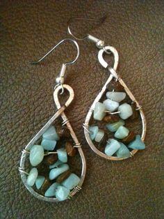 Amazonite and Tigereye genuine gemstone  hand forged silver earrings by BLLstudio