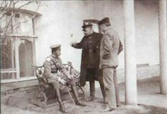 A slightly different look at Ipatiev house. Here it is during the Sokolov investigations into what happened to the imperial family. Diteriks, Magnitski, and Sokolov himself are pictured here sitting in the back garden of the house.