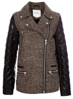 :PULL and BEAR HERRINGBONE JACKET WITH FAKE LEATHER SLEEVES