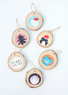 Illustrated Birch DIY Ornaments