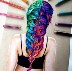 4,686 отметок «Нравится», 128 комментариев — Sydney Nielsen (@sydney_nielsen_art) в Instagram: «Rainbow hair drawing!  I like how this one turned out :) There's a time lapse video of this on…»