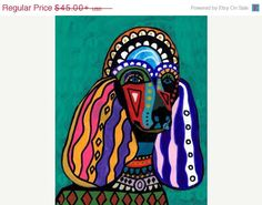 50% Off Standard Poodle art dog Art Print door HeatherGallerArt