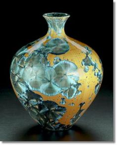 Crystalline, by Al McCanless. click  to source - potter explains how he makes this crystalline glaze.