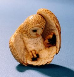 Netsuke in the form of a barn owl