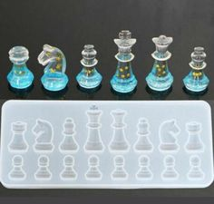 Checkers Resin Mold Handmade Mold International Checker Mould Clear Silicone Mould 3D International Piece Silicone Mold Set Polymer Clay Resin Baking Mould