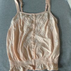 AE Peach Tank Peach AE tank with white design and buttons. Great quality! American Eagle Outfitters Tops Camisoles