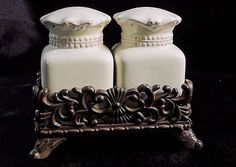 GLAZED CERAMIC SALT and PEPPER SHAKERS with Wrought Iron Caddy - JC Penney #JCPenney $17.99
