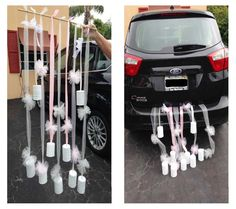 Just Married Car Décor using painted tin cans, tulle/ribbon and a wooden dowel by Liz De Paz