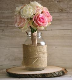 Rustic Tree Slice Engagement Bridal Shower Party Centerpiece