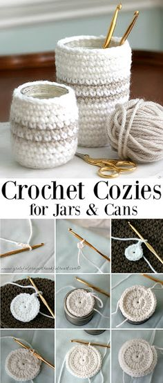 Crochet Cozy for Jars or Cans DIY your Christmas gifts this year with GLAMULET. they are compatible with Pandora bracelets. Crochet Cozy for Jars or Cans Crochet Cozy, Crochet Amigurumi, Diy Crochet Gifts, Crochet Throws, Wire Crochet, Crochet Pillow, Easy Crochet, Yarn Projects, Sewing Projects