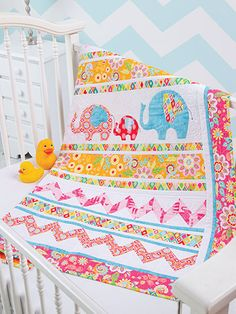 Quilting - Patterns for Children Babies - Applique Quilt Patterns - Elephant Walk