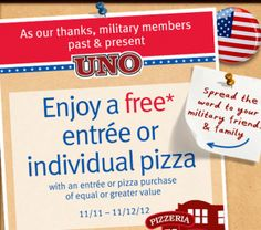 Uno's Buy One Get One Free Pizza or Entree For Military Members