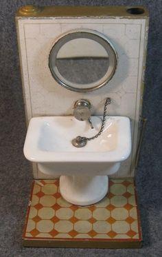 Nice Old Marklin Germany Tin Porcelain Bathroom Sink Work with Water Pre War, on eBay