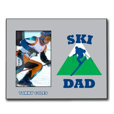Personalized Skiing Wood Frame with Skiing Dad | Skiing Frame