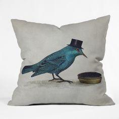 Terry Fan Gentlebirds Prefer Caviar Outdoor Throw Pillow | DENY Designs Home Accessories