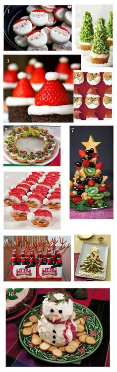 Christmas Party Food Ideas Appetizers and Desserts -UNFORTUNATELY you'll have to get what you can from the photos (no recipes in the pin) BUT you can do it! Let your creativity take over :)