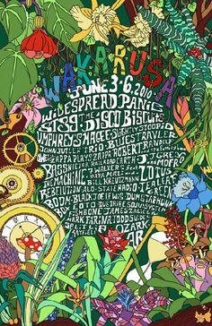 Festival poster for Wakarusa Music Festival in Ozark, Arkansas in 2010. 11 x 17 on card stock.