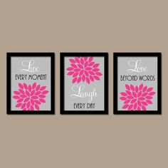Hot Pink Gray Black Custom Live Laugh Love Colors Flower Burst Petals Artwork Set of 3 Prints Decor Bedroom WALL ART Bathroom Nursery Baby