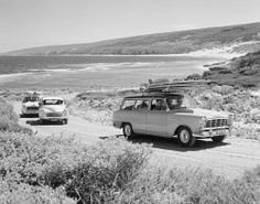 Historic Photos Perth: TWA-0027004 © WestPix 19/11/1960 - 'BEACHNIK' CONVOY OF CARS WITH SURFBOARDS ON ROOF LEAVING YALLINGUP BEACH