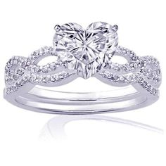 0.85 Ct Heart Shaped Diamond Intertwined Engagement Wedding Rings Pave Set SI1