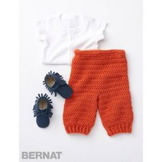 Smarty Pants | Crochet a pair of cozy pants for your own little Smarty Pants - stitched easily in Bernat Super Value.| Yarnspirations