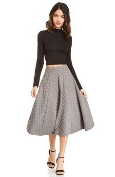 JOA Dotted Jacquard Skirt in Gray