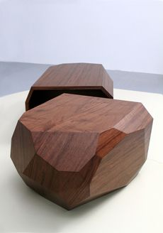 Aren't these awesome tables? Geometric wooden abstract art as well. Love these by Arik Levy