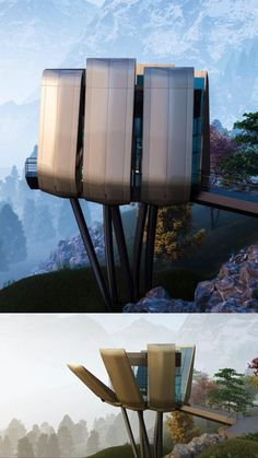 A Futuristic Smart Sustainable Mountain pod designed to utilize solar power using a petals mechanism that allows it to open up and close down to charge up the pod using photovoltaic cells mounted on the petals. #architecture #architect #amazing #travel #amazing #decor #interior #interiordesignideas #interiordesigner #design #diy #home #house #modern #decoration #sustainable #mountains #mountainpod #future #futuristic Minimalist Architecture, Contemporary Architecture, Landscape Architecture, Interior Architecture, Futuristic Home, Futuristic Architecture, Sustainable Architecture, Luxury Tree Houses, Floating Architecture