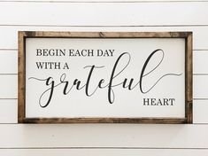home Sign With Heart - Ready to ship Begin each day with a grateful heart Wood Sign Farmhouse Decor Farmhouse Style Home Decor approx 12 25 x 24 . Handmade Home Decor, Unique Home Decor, Diy Home Decor, Room Decor, Diy Wood Signs, Painted Wood Signs, Pallet Signs, Wood Signs For Home, Rustic Wood Signs