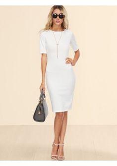 Bleistift Kleid 2017 Hinten mit Schlitz Weiß
