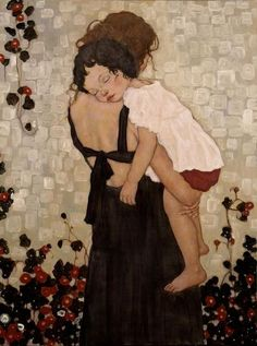 Mother and Child by Xi Pan Chinese Artist, inspired by G. Klimt and often misattributed to Klimt Gustav Klimt, Xi Pan, Illustration Art, Illustrations, Portraits, Fine Art, Art Plastique, Oeuvre D'art, Painting & Drawing