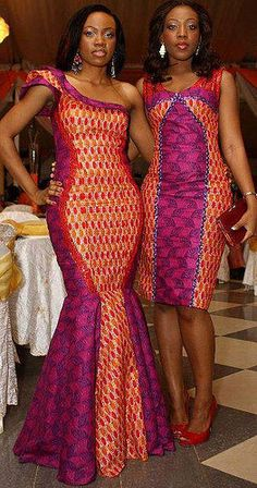 Various Ankara/Kente Styles & Dresses .I want the dress on the left so bad! African Inspired Fashion, African Print Fashion, Africa Fashion, Ethnic Fashion, African Print Dresses, African Fashion Dresses, African Dress, Fashion Outfits, African Prints