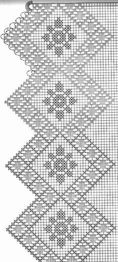 @nika Crochet Tablecloth Pattern, Crochet Lace Edging, Crochet Borders, Crochet Flower Patterns, Crochet Chart, Filet Crochet, Crochet Doilies, Crochet Flowers, Knit Crochet