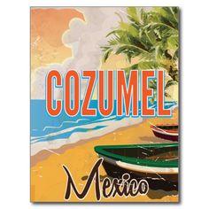 Cozumel Mexico Vintage travel poster print Postcard