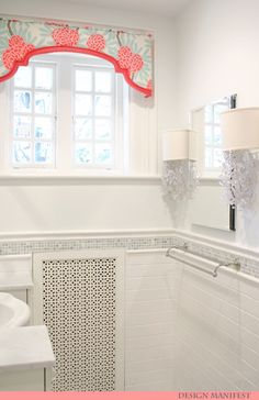 bathrooms - Caitlin Wilson Mint Fleur Chinoise Shades of Light Dripping Crystal Shade Sconce shaped valance watery blue walls inset medicine cabinet pen cil rail subway tiles backsplash mosaic ming decorative inset tiles custom radiator cover